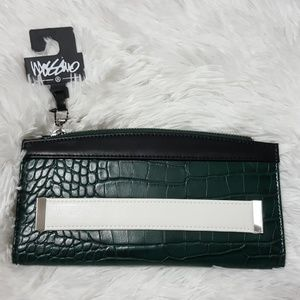 Mossimo green snake print wallet / clutch